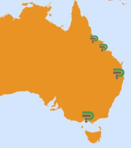 Map of Australia showing Therapy Pro service locations - Melbourne, South East Queensland and North Queensland