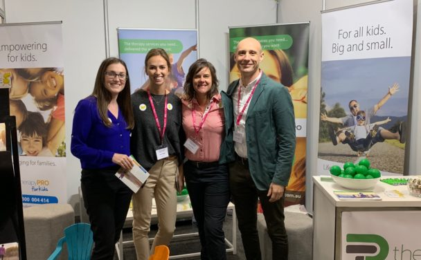 Nicole, Jenny, Karen and Phil on the Therapy Pro stand at the Melbourne Disability Expo.