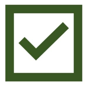 a symbol of a green tick in a square