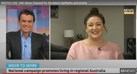A screen shot image of Lara and and ABC news presenter on the TV